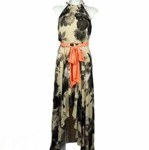 ELIZA J Floral Maxi Halter Neck Neon Belt 18W